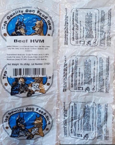 Top Quality Dog Food.com, Beef HVM, 1 lb.