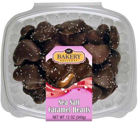 Top of package, Palmer Bakery Delights Sea Salt Caramel Hearts