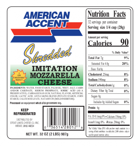 Label, American Accent Shredded Imitation Mozzarella Cheese