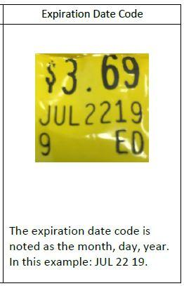 The expiration date code is noted as the month, day, year. In this example: JUL 22 19