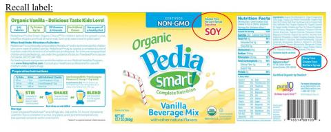 Incorrect recalled label, Pedia Smart Soy Vanilla Beverage Mix