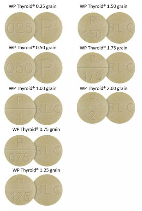 Photo WP Thyroid of pills in 0.25, 0.50, 1.00, 0.75, 1.25, 1.50, 1.75, 2.00 grain