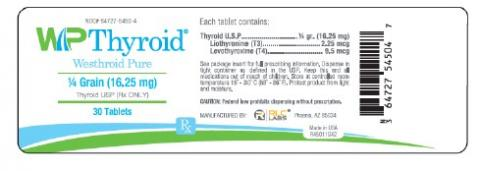 Labeling, WP Thyroid, representative label, product is packaged in 0.25, 0.50, 1.00, 0.75, 1.25, 1.50, 1.75, 2.00 grain and is in 30, 60, 90, 100 and 1,000 count bottles.