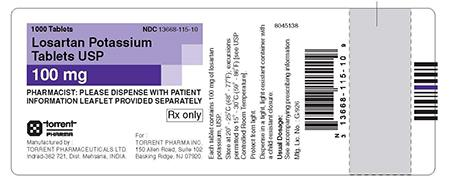 """Product Labeling of Losartan Potassium Tablet, USP 100 mg, 1000 tablets"""