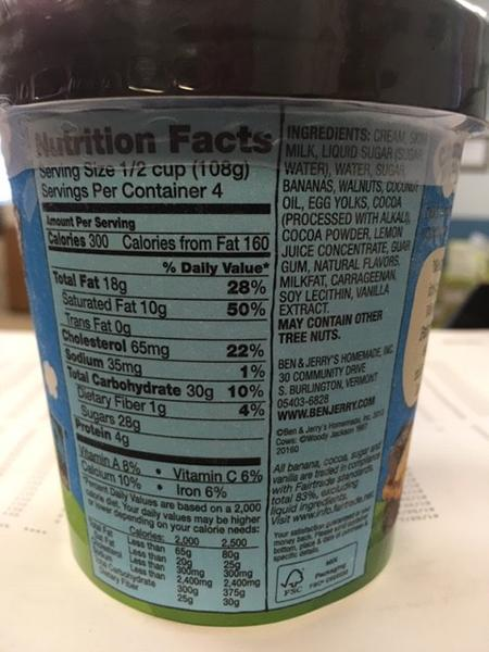 """Ben & Jerry's Chunky Monkey, Nutrition Facts"""