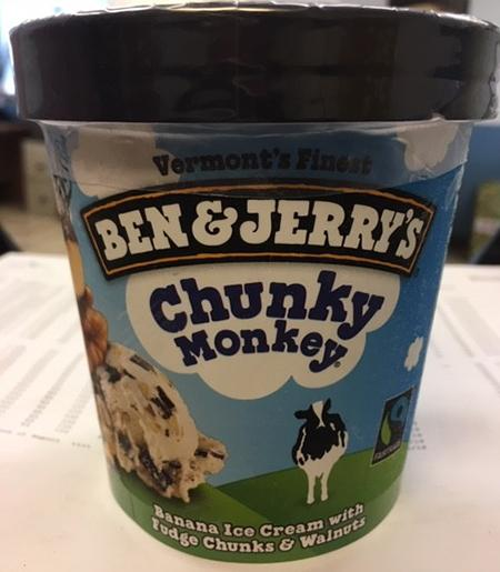 """Ben & Jerry's Chunky Monkey, Banana Ice Cream with Fudge Chunks & Walnuts"""