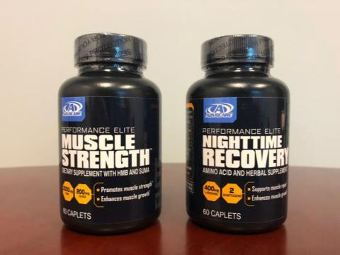 Front bottle labels, Advocare Muscle Strength and Advocare Nighttime Recovery dietary supplements