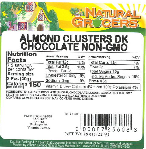 Product label Natural Grocers Almond Clusters DK Chocolate Non-GMO 8 oz