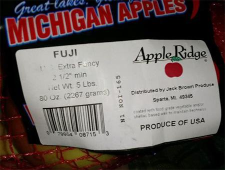 Representative FUJI Bag Label:  Apple Ridge, Distributed by Jack Brown Produce, Inc. Sparta, Michigan 49345, PRODUCE OF USA