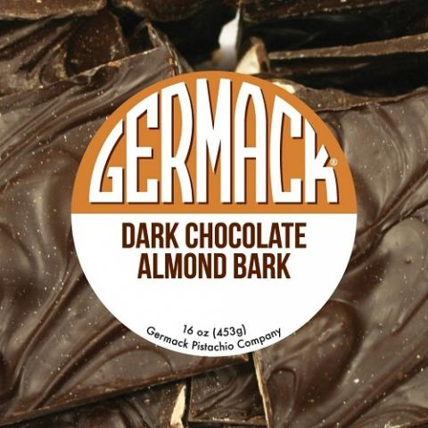 Picture of Germack Dark Chocolate Almond Bark with brand name sticker