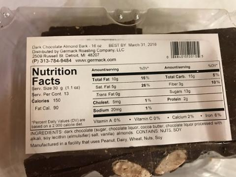 Picture of nutrition panel for Germack Dark Chocolate Almond Bark