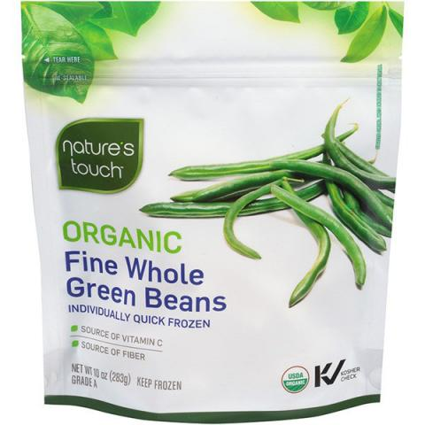 Label, Nature's Touch Organic Fine Whole Green Beans