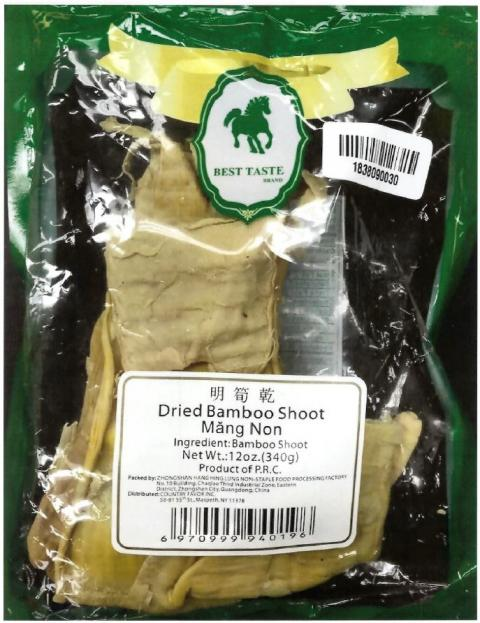 Dried Bamboo Shoot, Net Wt. 12 oz, front and back label
