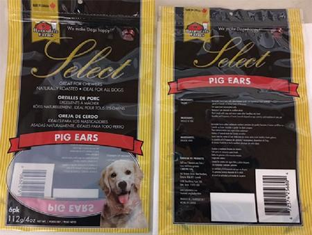 """Product packaging image front and back, Barnsdale Farms & reg Select 6-pack Pig Ears (UPC 6 72374 25680 4)"""