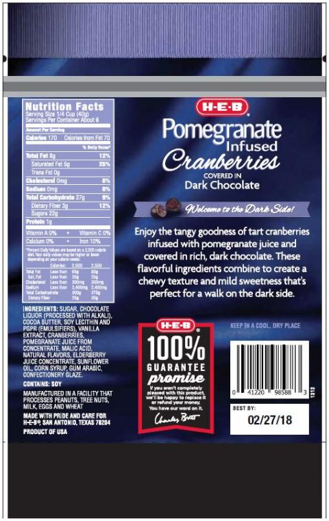 """ H.E.B Pomegranate Infused Cranberries covered in Dark Chocolate (back label)"""