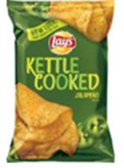 """Jalapeno Flavored Lay's Kettle Cooked potato chips, A New Look Single Pack"""