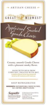 """Great Midwest Applewood Smoked Gouda Cheese, Front Label"""