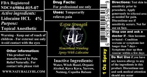 """Label, Naturally HL Hemorrhoid Numbing Spray with Lidocaine  1 oz. Spray"""