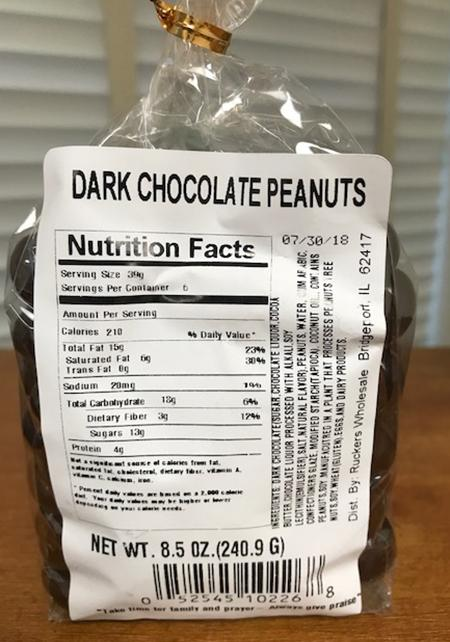 Package Back – Family Choice DARK CHOCOLATE PEANUTS Nutrition Facts Label