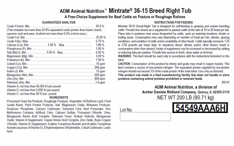 Label, Mintrate 36-15 Breed Right Cattle Tub