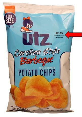 Bag Front Utz Carolina Style Barbeque Potato ships showing expiration date upper right corner of bag