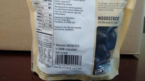 Back Label, Woodstock Dark Chocolate Almonds