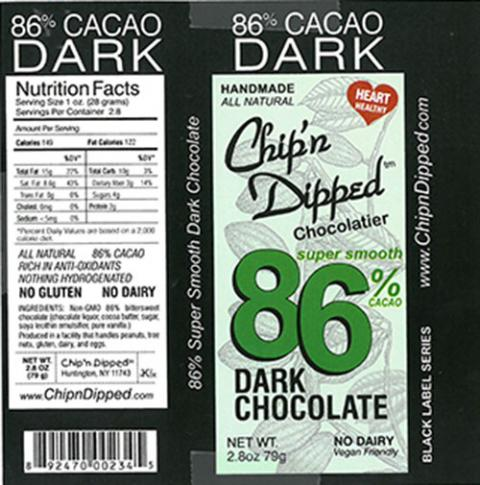 Product label, Chip'n Dipped 86% Cacao Dark Chocolate 2.8oz