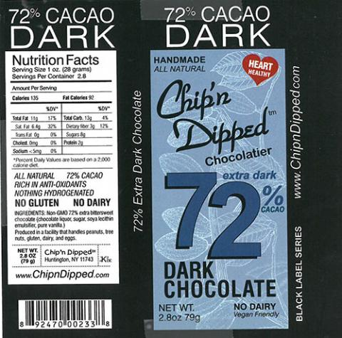 Product label, Chip'n Dipped 72% Extra Dark Cacao Dark Chocolate 2.8oz