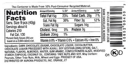 Back Label -  Nutrition Facts and Ingredient