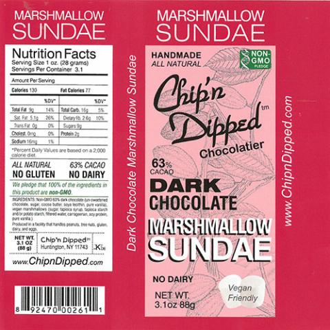 Product label, Chip'n Dipped 63% Cacao Dark Chocolate Marshmallow Sundae 3.1oz