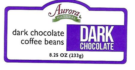 Front Label – Aurora NATURAL  dark chocolate coffee beans