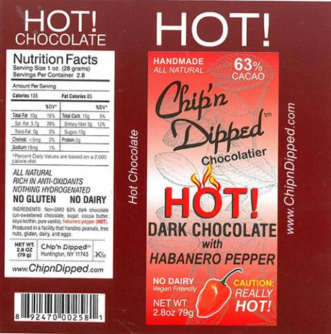 Product label, Chip'n Dipped 63% Hot Dark Chocolate with Habanero Pepper 2.8oz