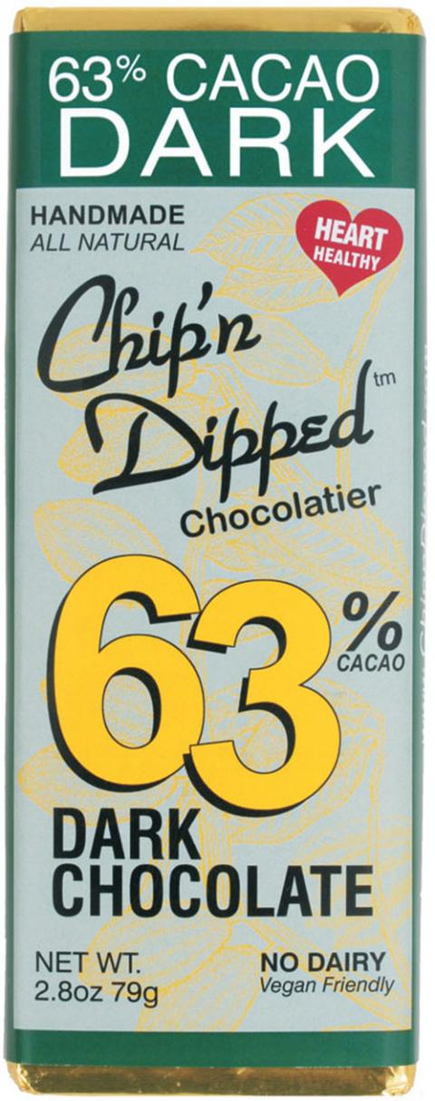 Product front label, Chip'n Dipped 63% Cacao Dark Chocolate 2.8oz