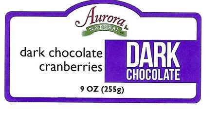 Front Label – Aurora NATURAL dark chocolate cranberries