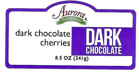 Front Label – Aurora NATURAL dark chocolate cherries