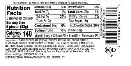 Back Label – Nutrition Facts and Ingredient