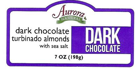 Front Label – Aurora NATURAL dark chocolate turbinado almonds with sea salt