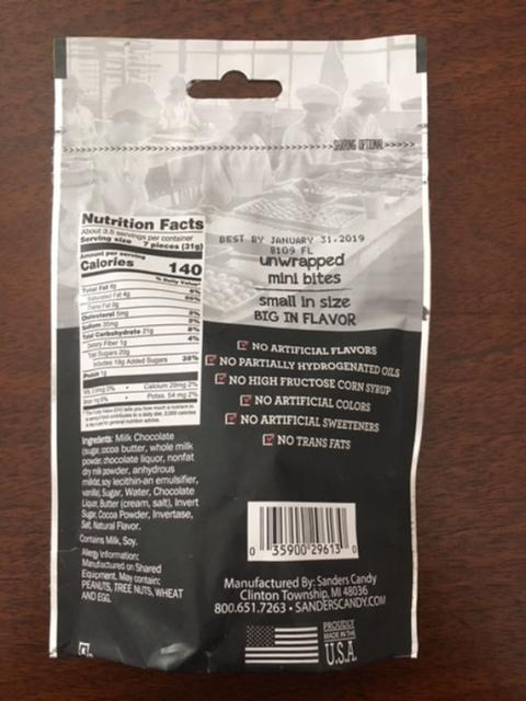 3.75oz Milk Chocolate Covered Fudge Mini Bites, back of package image