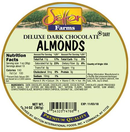 Round Label - Setton Farms Deluxe Dark Chocolate Almonds 14 oz.