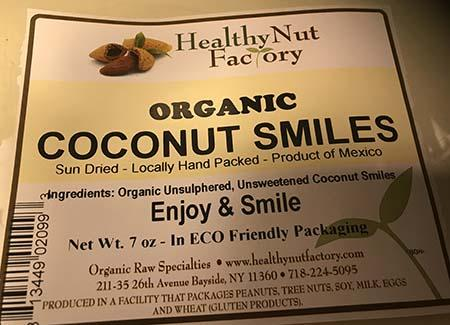 Healthy Nut Factory, Organic Coconut Smiles, Net Wt. 7 oz