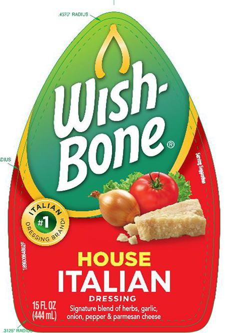 Front label, Wish Bone House Italian Salad Dressing