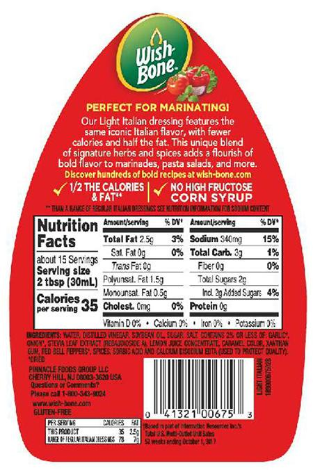 Back label, Wish Bone House Italian Salad Dressing