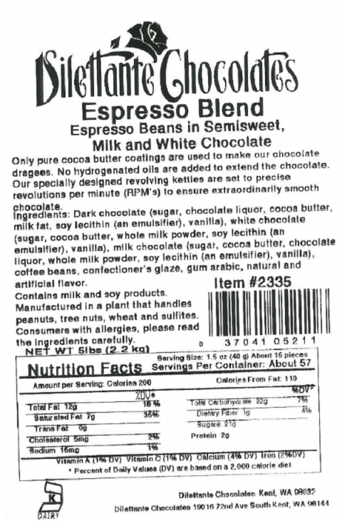 Dilettante Chocolates Espresso Blend, Espresso Beans in Semisweet, Milk and White Chocolate, Costco item # 2335