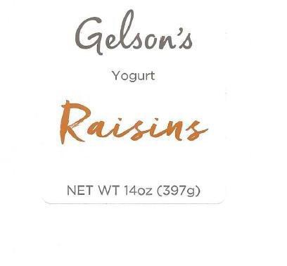 Product Front Label, Gelson's Yogurt Raisins, NET WT 14 oz (397 g)