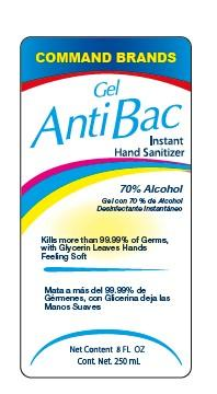Front label, Command Brands Gel AntiBac Instant Hand Sanitizer