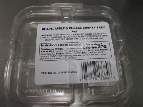 Ingredient Tray Label  Grape, Apple & Cheese Bounty Tray