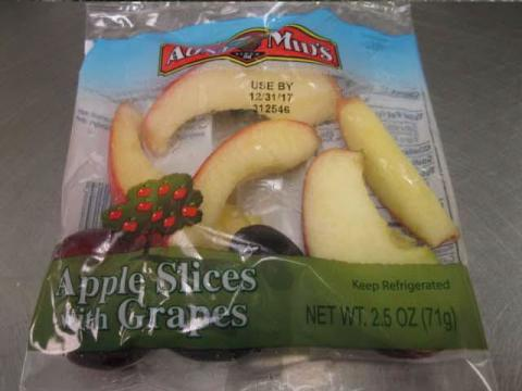 Bagged Front Label  Aunt Mid's Apple Slices with Grapes
