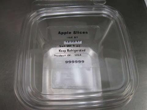 Front Tray Label  Apple Slices