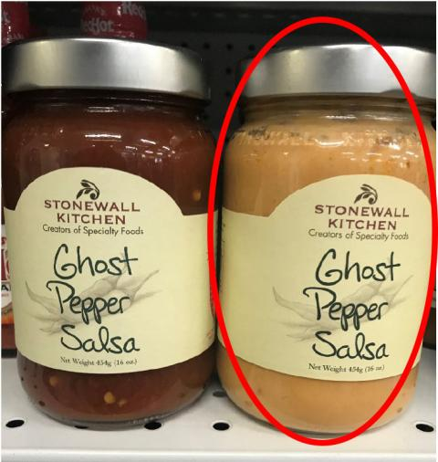 Circled jar (right) is the front label for Ghost Pepper Salsa with Ghost Pepper Queso in the jar. To the left is the correct Ghost Pepper Salsa product.