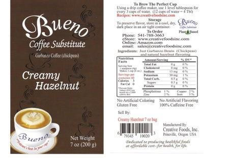 Label, Bueno Coffee Substitute Creamy Hazelnut